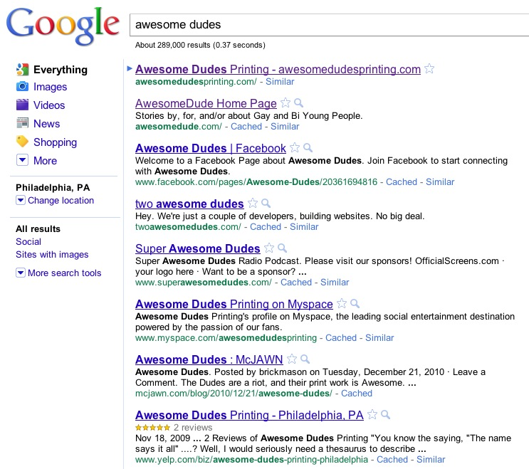 Awesome Dudes #1 Search Results