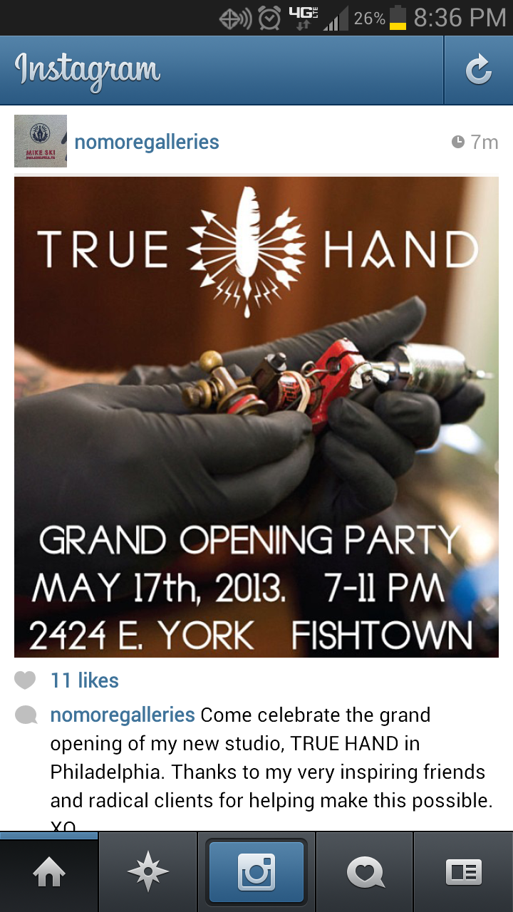 FRIDAY 7 TO 11 FREE BOOZE AND FOOD. RAD DUDE. OPENING OF TRUE HAND DESIGN/TATTOO W/MIKE SKI