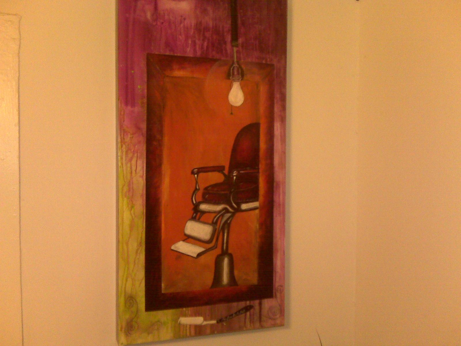 e st penn barber chair painting